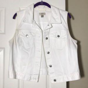 Loft white denim vest size L